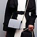Graphite Mee Chain Handbag With Interchangeable Black & Kale Braided Shoulder Strap image
