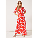 Joyce V-Neck Maxi Wrap Puff Sleeved Dress In Red Daisy image