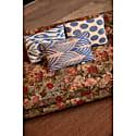 Artemis Blue Leaf Ikat Silk Double Sided Heritage Design Cushion image