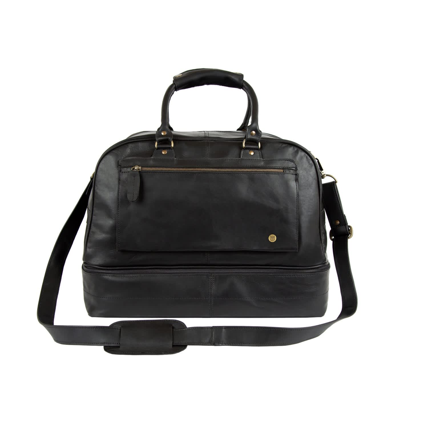f61cd53ad0ee Large Leather Raleigh Holdall Bag With Under Compartment In Black ...
