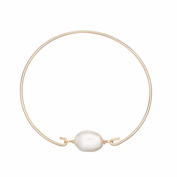 LILY & ROO Gold Large Pearl Bangle