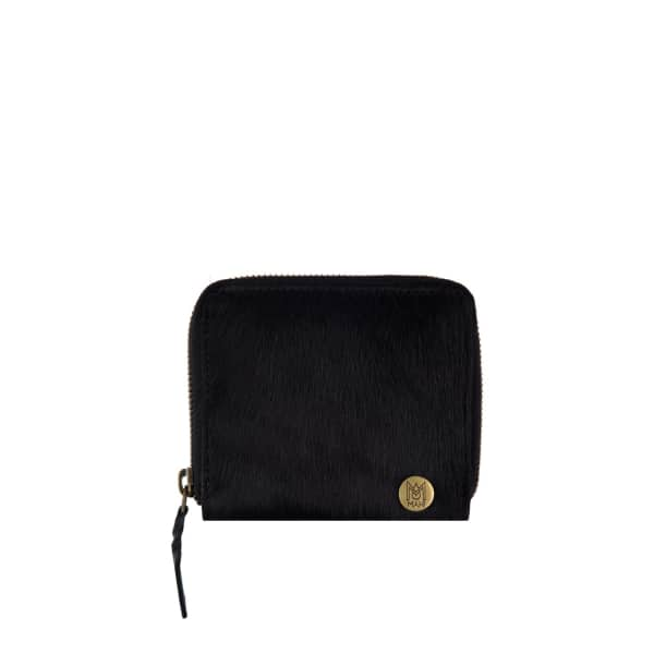 MAHI LEATHER Classic Ladies Coin Purse In Ebony Black Pony Hair Leather