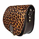 Leopard Print Leather Saddle Bag In Brown With Back Pocket image