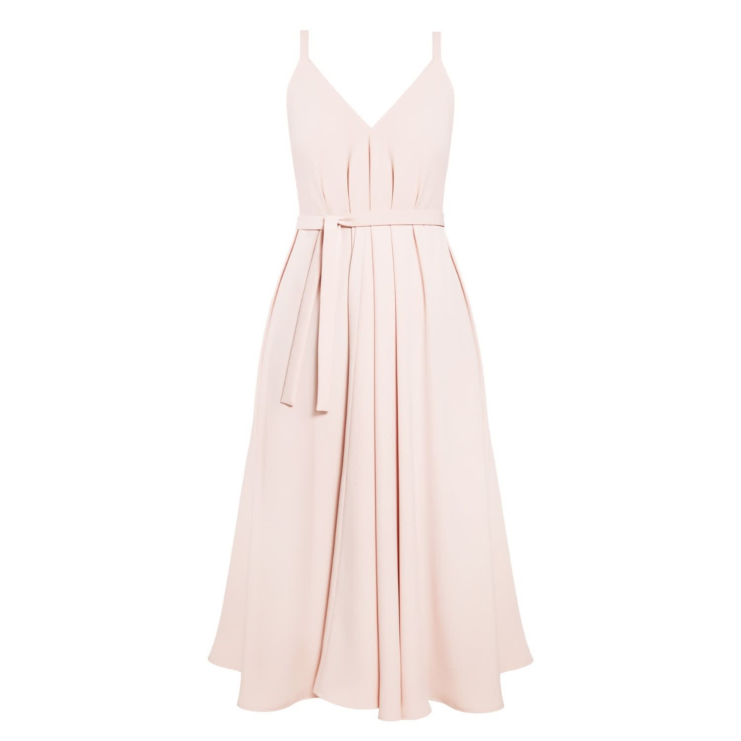 Notabilia Pastel Pink Extremely Flared Occasion Wedding Guest Midi ...