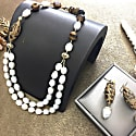 Freshwater Pearls & Tiger Eyes Double Strands Necklace image