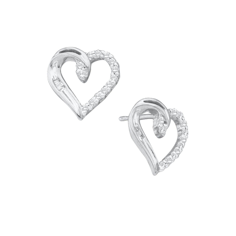 679539917db Diamond Heart Love Stud Earrings in 14k White Gold by Cosanuova