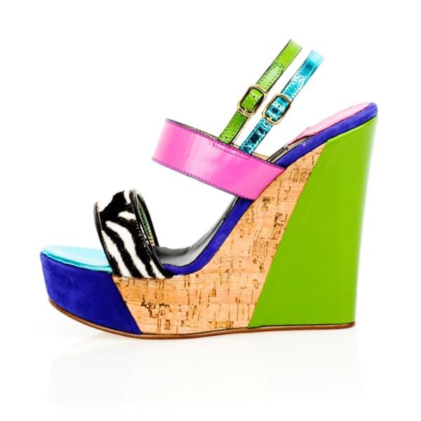 KIM KWANG Sporty Wedge Sandals Zebra Detailing Green
