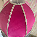 Raspberry Pink Velvet Dome Lamp Shade With Grey Fringe Tassels & Beading image