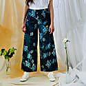 Floral Khadi Cotton Wide Leg Trousers image