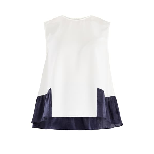 PAISIE Flared Top With Satin Ruffle Panels In White & Navy