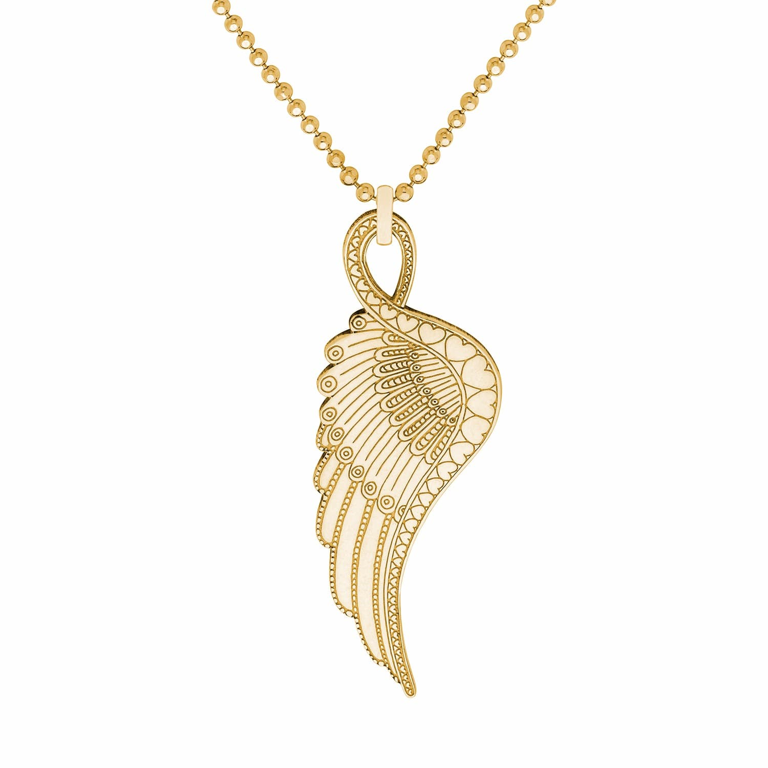 yellow gold necklace wing pendant nomination large angel image