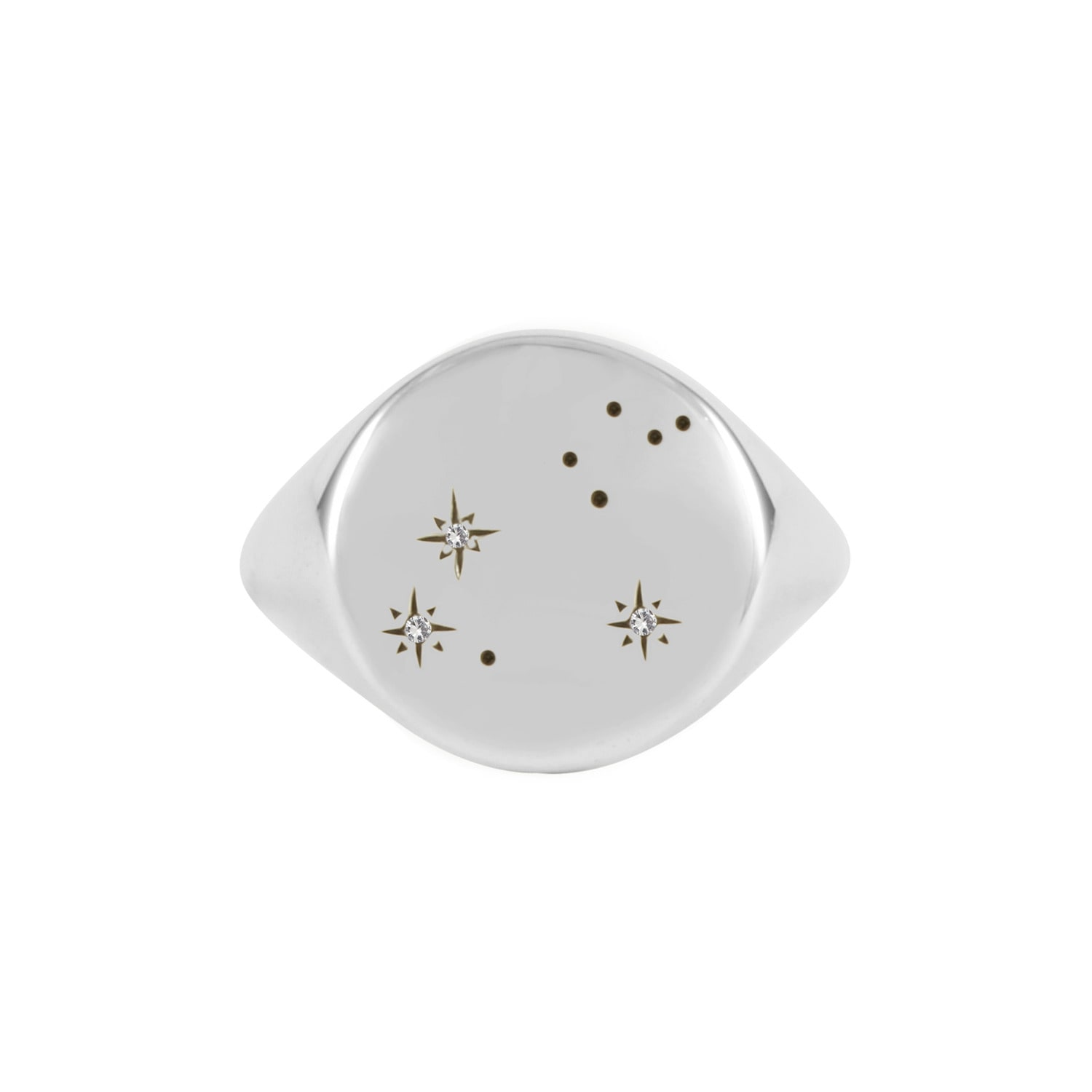 No 13 - Leo Constellation Signet Ring Diamonds & Oxydised Silver