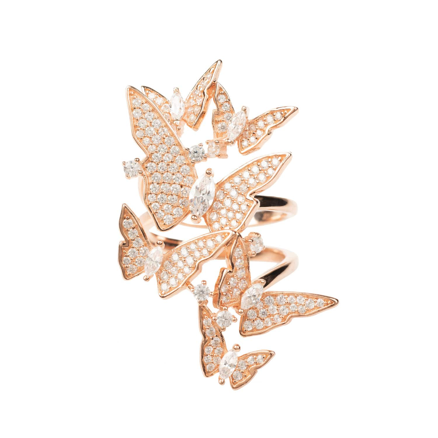090b30d168919 Flutter By Butterfly Cocktail Ring Rosegold by LATELITA