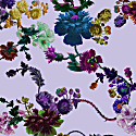 Smocked Dusk Dress In Gothic Floral Print Iced Lilac image