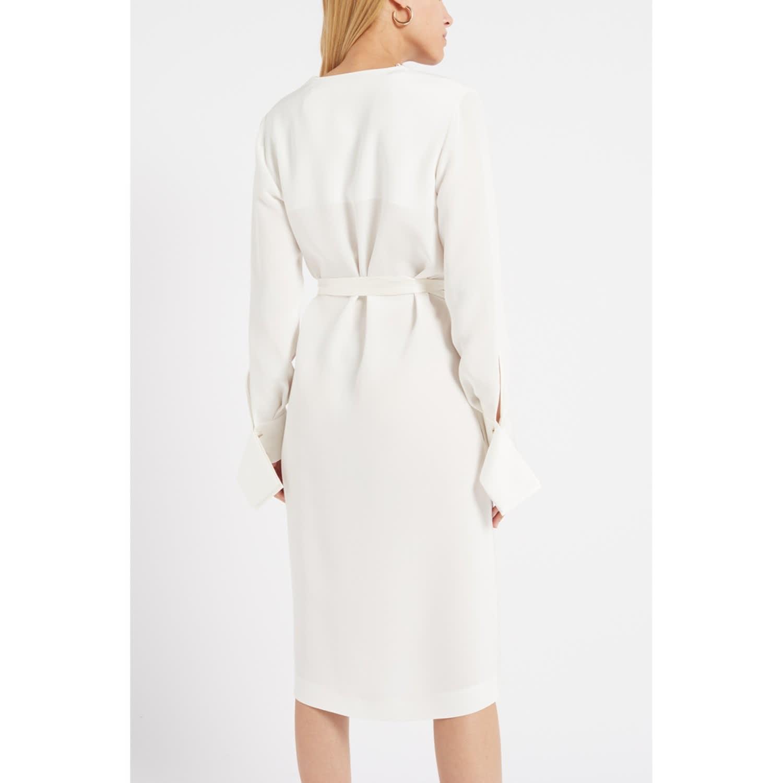10701c7e89c Peregrine White Silk Wrap Midi Dress image