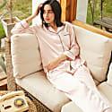 22Mm Organic Silk Pajamas Button Down Pant Set-Audrey Light Pink image