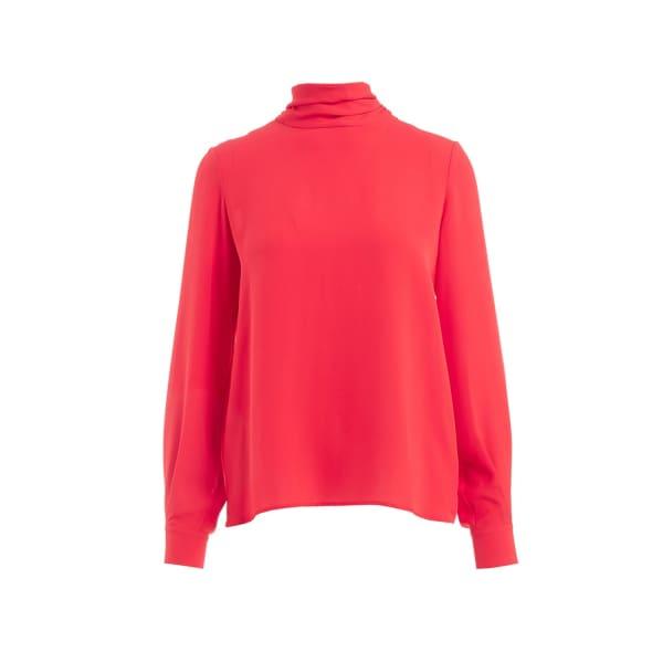Ida Red Scarf Silk Blouse