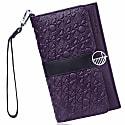 Purple & Black English Leather Clutch Bag Travel Wallet image