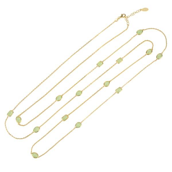 LATELITA LONDON Venice 120Cm Long Chain Necklace Gold Aqua Chalcedony
