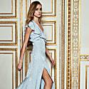 Ice Blue Brocade Asymmetric Maxi Dress image