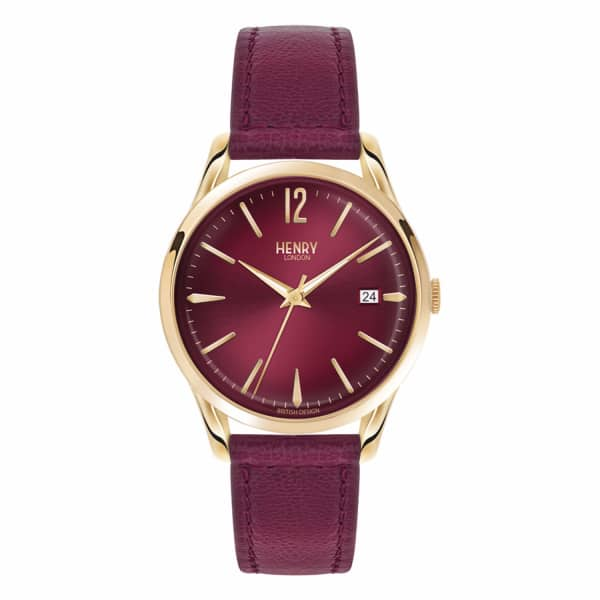 HENRY LONDON Ladies 39Mm Holborn Leather Watch