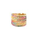Narrow Pastel Hand Made Crochet Rainbow Cuff Bracelet image