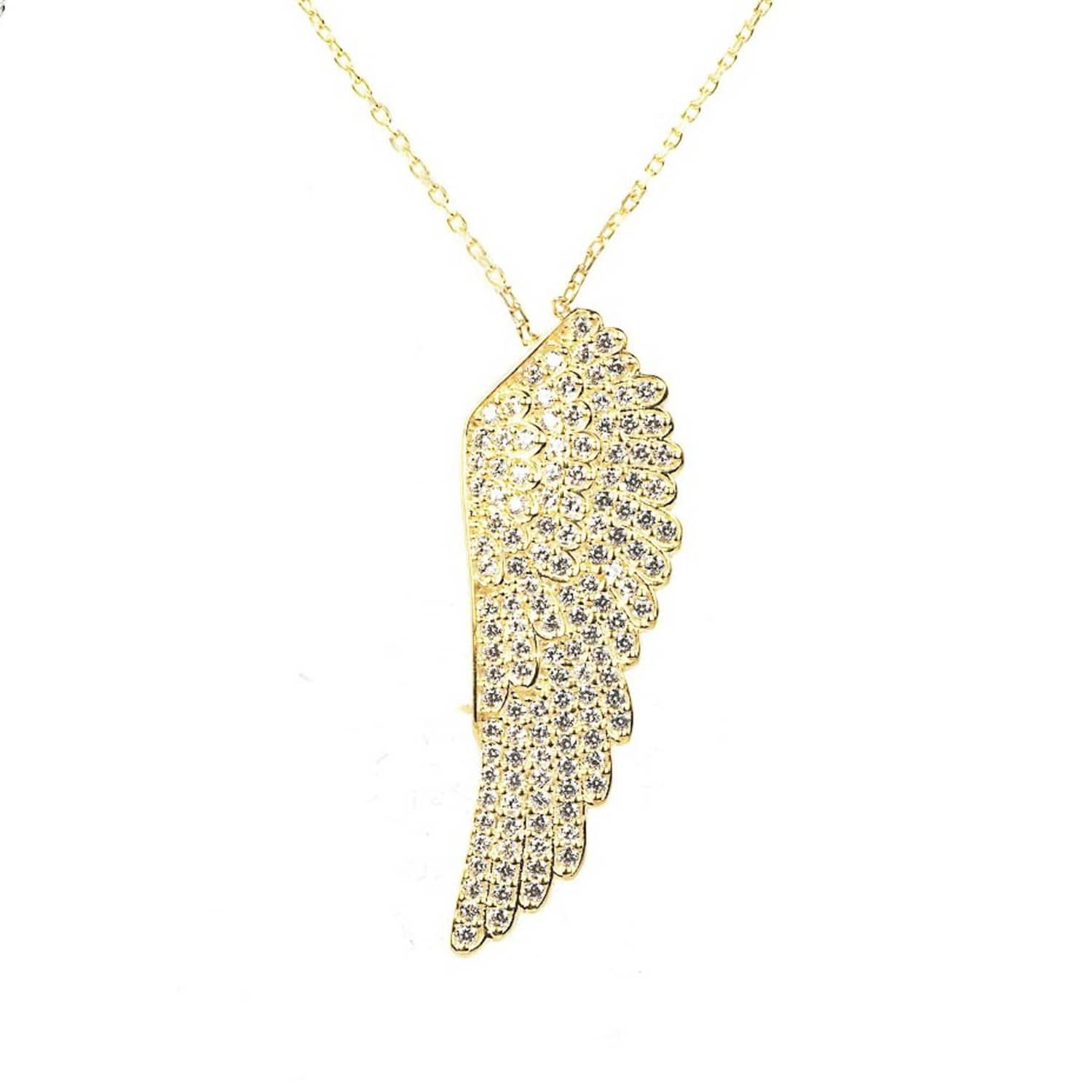pearl wing cz chain with crystal product angel necklace clusters