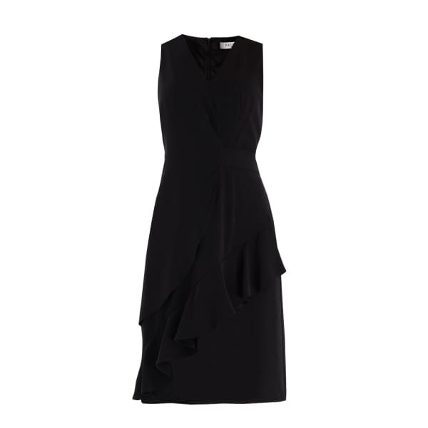 PAISIE V-Neck Dress With Asymmetric Side Frill In Black