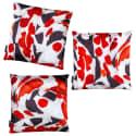 Koi I Set of Three Red & White Velvet Cushions image