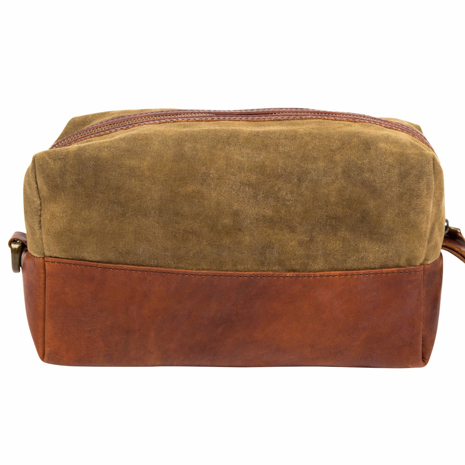 3b65d1231ac9 Canvas   Leather Classic Wash Bag In Forest Green   Brown image