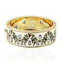 18Kt Yellow Gold Natural Diamond Tanzanite Flower Print Enamel Bangle Women Jewelry image