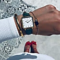 Neliö Square Vegan Leather Watch Gold, White & Green image