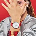 Ksana Ruby Red & Silver Vegan Watch - 38mm image