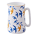 Flock China Pint Jug - Blue & Ochre Swallow Print On White image