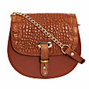 Mini Victoria Alligator Print Full Grain Tan Leather Crossbody Saddle Bag With Gold Chain image