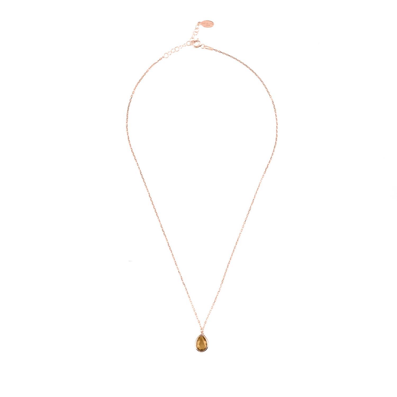 Latelita London Pisa Mini Teardrop Necklace Rose Gold Smoky Quartz DwFKLEgixP