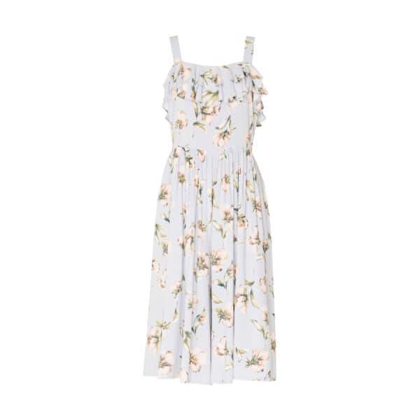 PAISIE Floral Print Playsuit with Ruffles & Gathered Waist in Light Blue