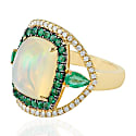 18Kt Yellow Gold Ethiopian Opal Emerald Diamond Cocktail Ring image