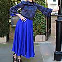 Reversible Emma Silk Satin Skirt In Ocean Water image