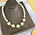 Freshwater Pearls With Golden Plated Bordered Pearl Statement Necklace image