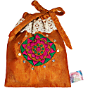 Hand Embroidered Drawstring Pouch Copper image
