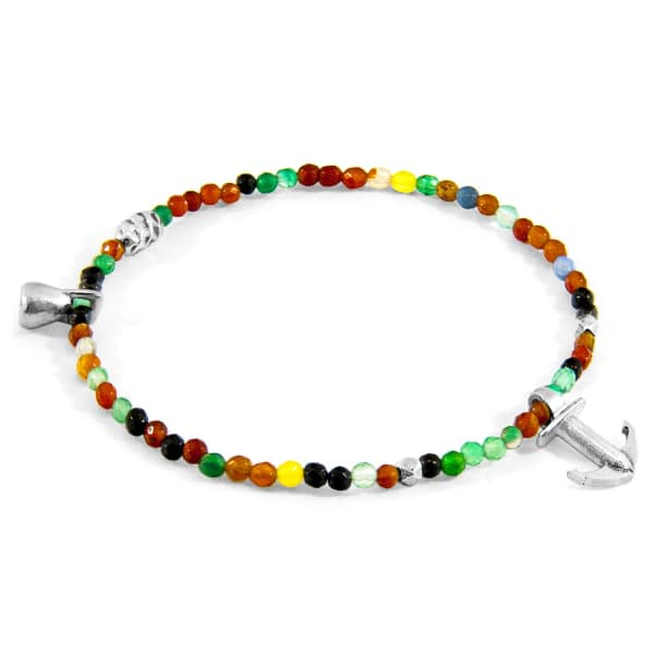 ANCHOR & CREW Multicoloured Agate Tropic Silver & Stone Bracelet