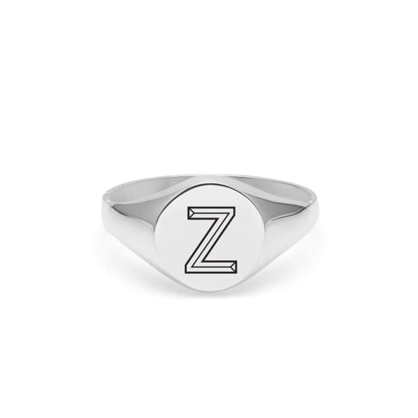 Silver Z Facett Initial Signet Ring