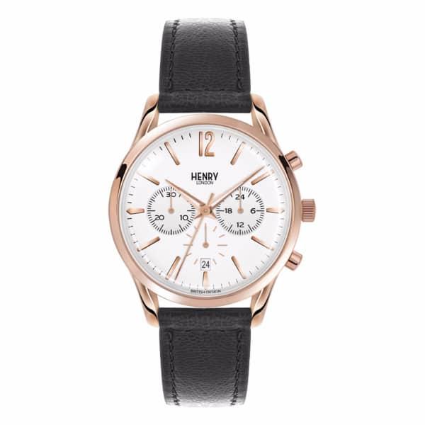HENRY LONDON Unisex 39Mm Richmond Leather Chronograph Watch