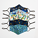 5 Pack 100% Organic Cotton Face Mask with Filter Pocket Leopard & Flowers image