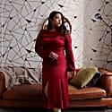 Nina Midi Dress in Scarlet Red Silk image