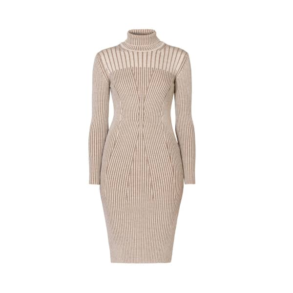 RUMOUR LONDON Cleo Oatmeal Two-Tone Ribbed Knit Dress in Neutrals