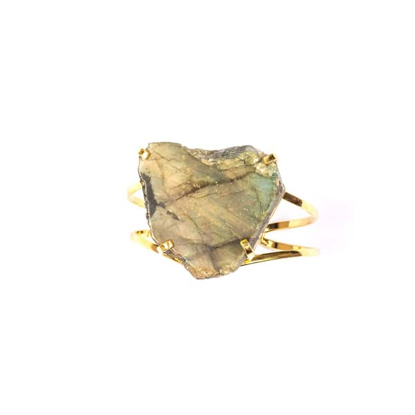 TIANA JEWEL Laurie Labradorite Gold Cuff Bracelet in Blue
