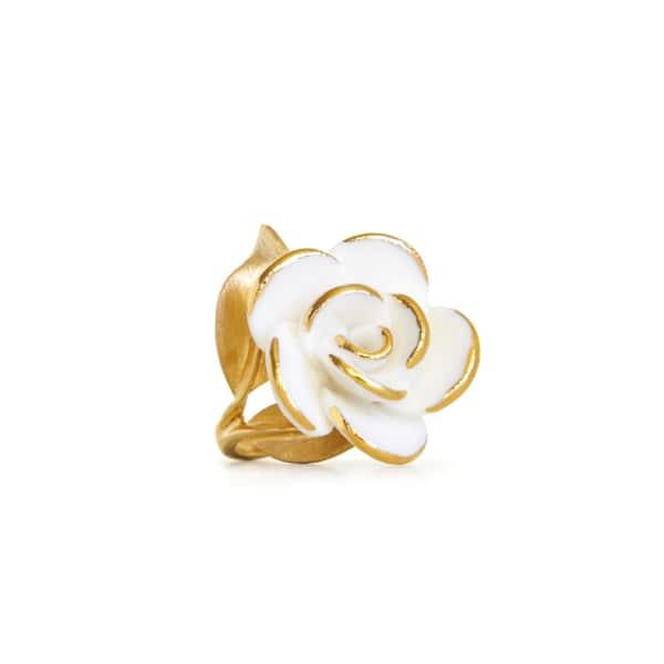 POPORCELAIN Golden White Cloud Rose Cocktail Ring