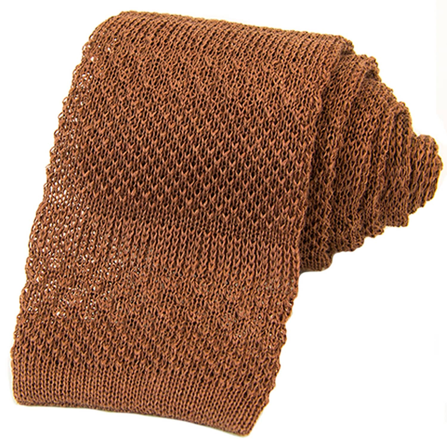 9ef82139572e Brown Solid Textured Striped Linen Knitted Tie   40 Colori   Wolf ...